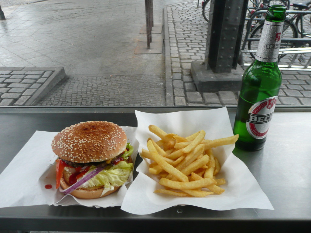 Burger and fries at Burgermeister Berlin