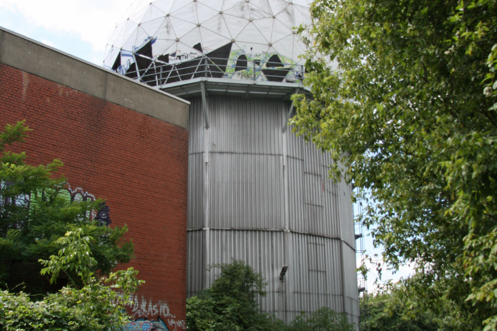 A secondary tower at the NSA Listening Station at Teufelsberg seen from ground level