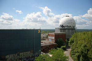 A secondary tower at the NSA Listening Station at Teufelsberg seen from the roof of the main building