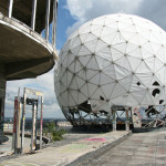 A listening sphere on the roof of the main building at the NSA Listening Station at Teufelsberg