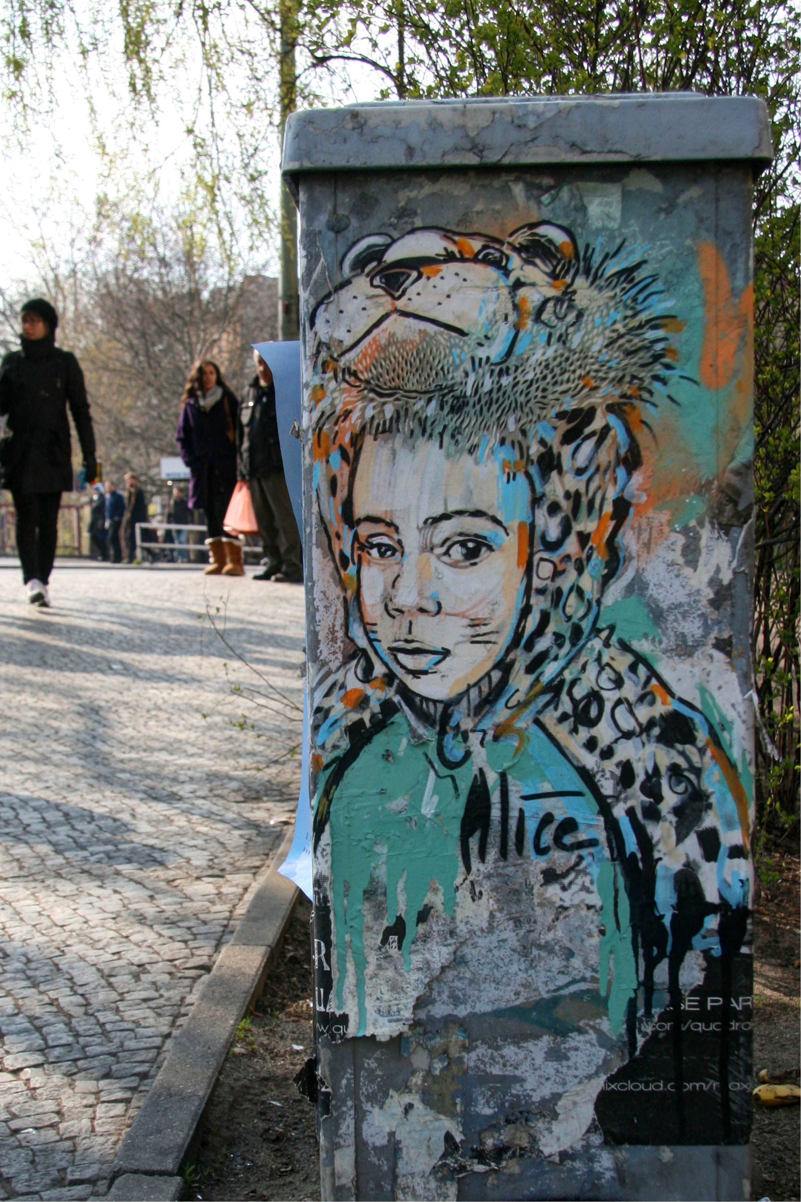 Child in Leopard Costume: Street Art by AliCé (Alice Pasquini) in Berlin