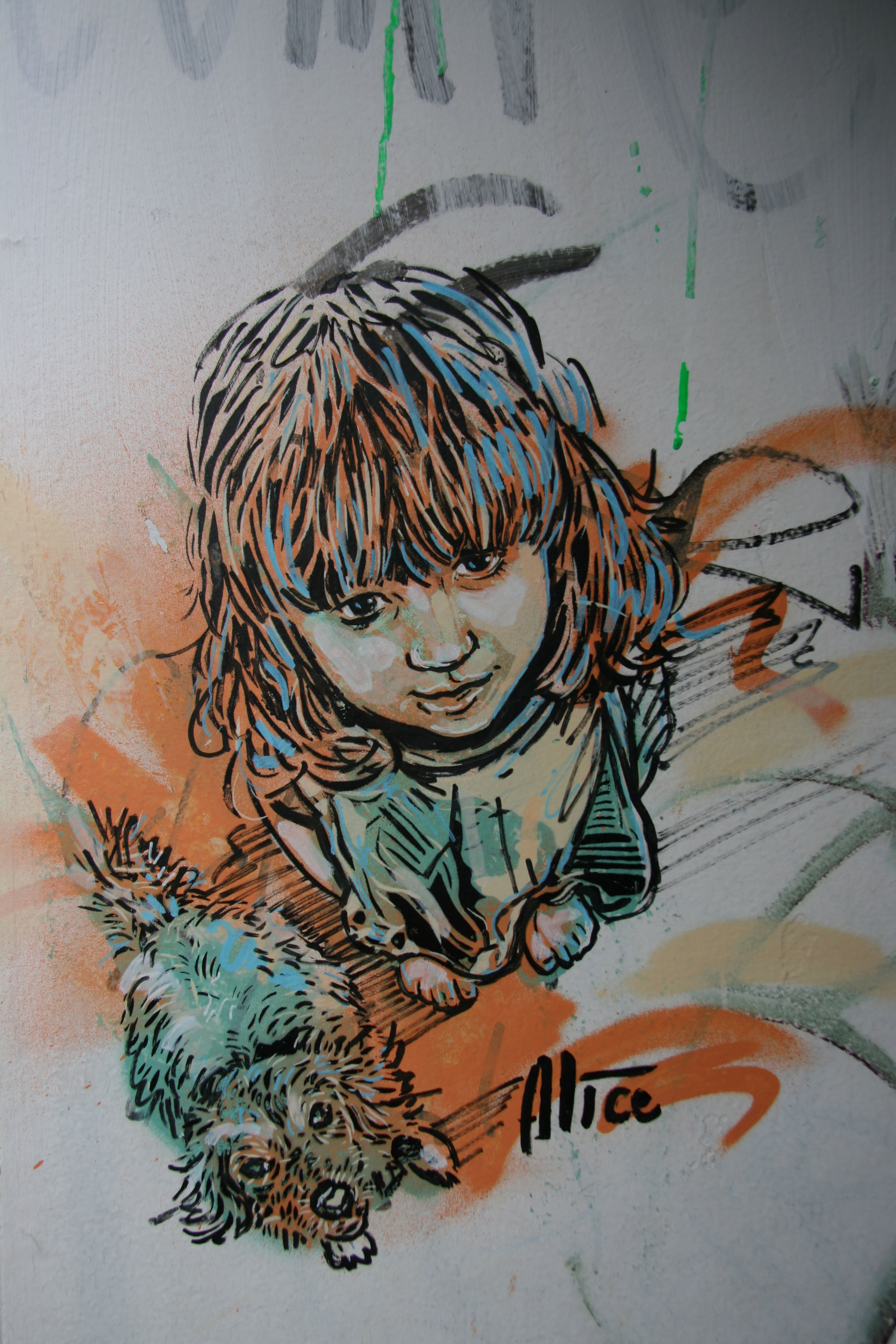 Girl and Puppy: Street Art by AliCé (Alice Pasquini) in Berlin