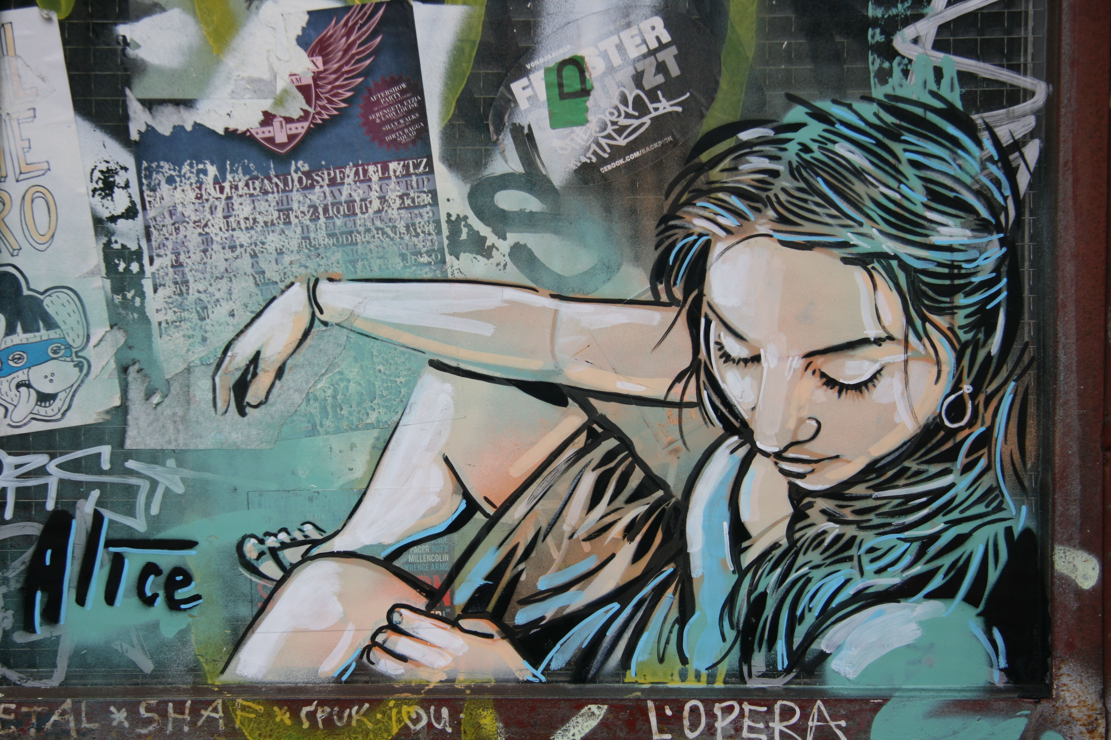 Girl in a Doorway: Street Art by AliCé (Alice Pasquini) in Berlin