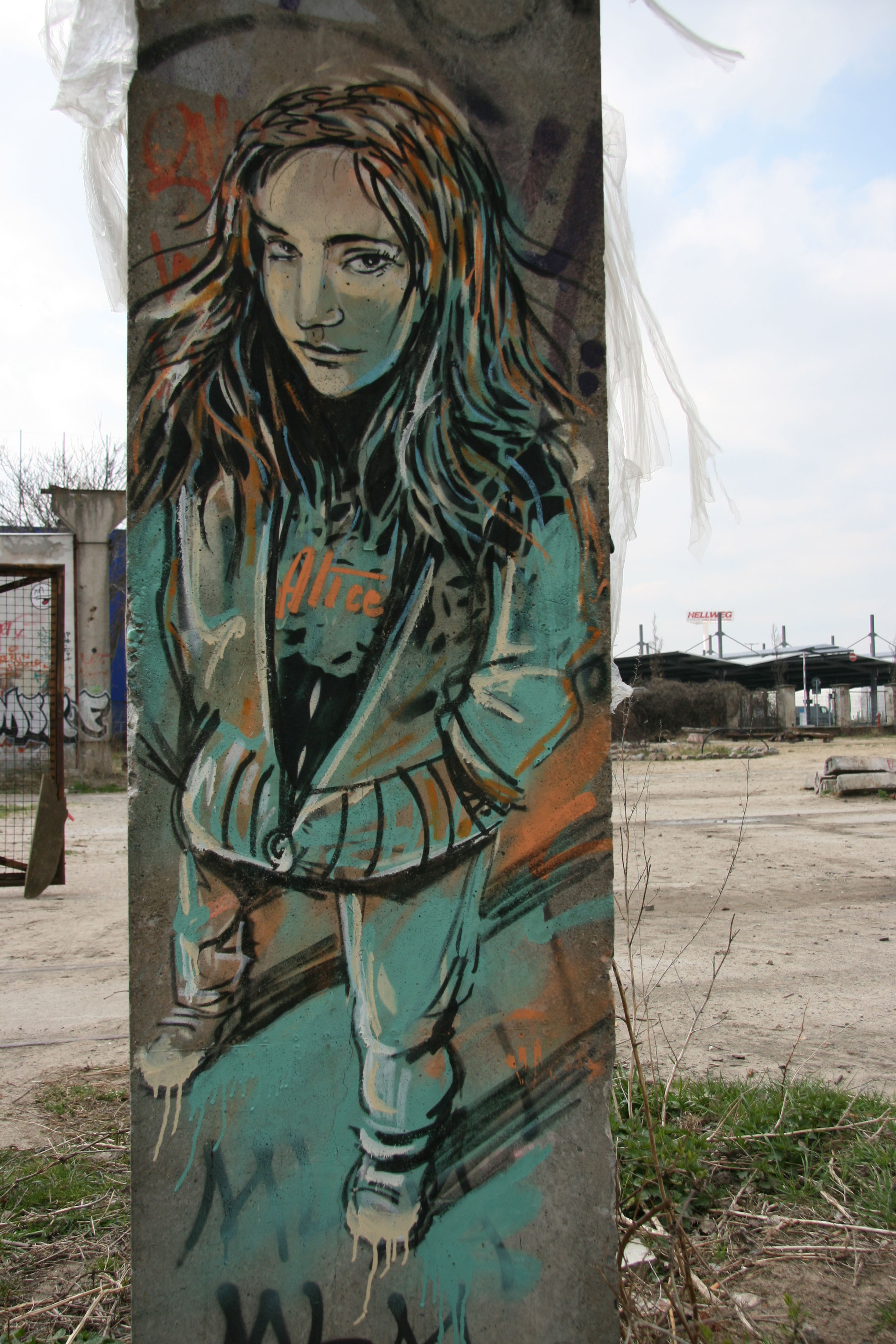 Girl on a Pole: Street Art by AliCé (Alice Pasquini) in Berlin