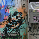 Kissing on a Bench: Street Art by AliCé (Alice Pasquini) in Berlin