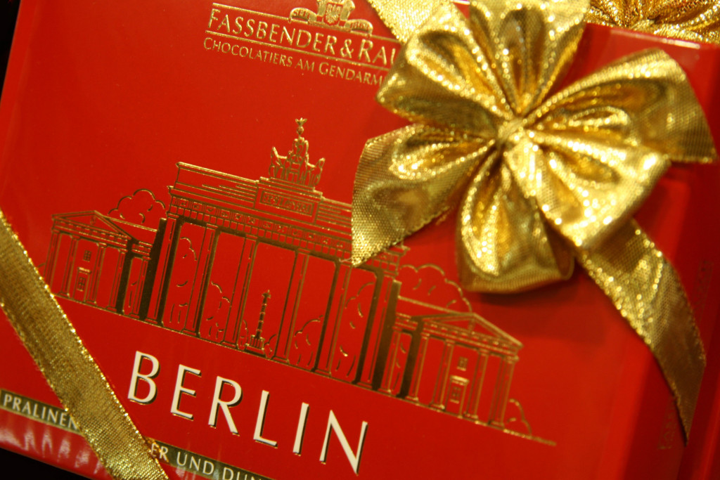 A box of Berlin souvenir chocolates at Fassbender & Rausch Chocolatiers on the Gendarmenmarkt in Berlin