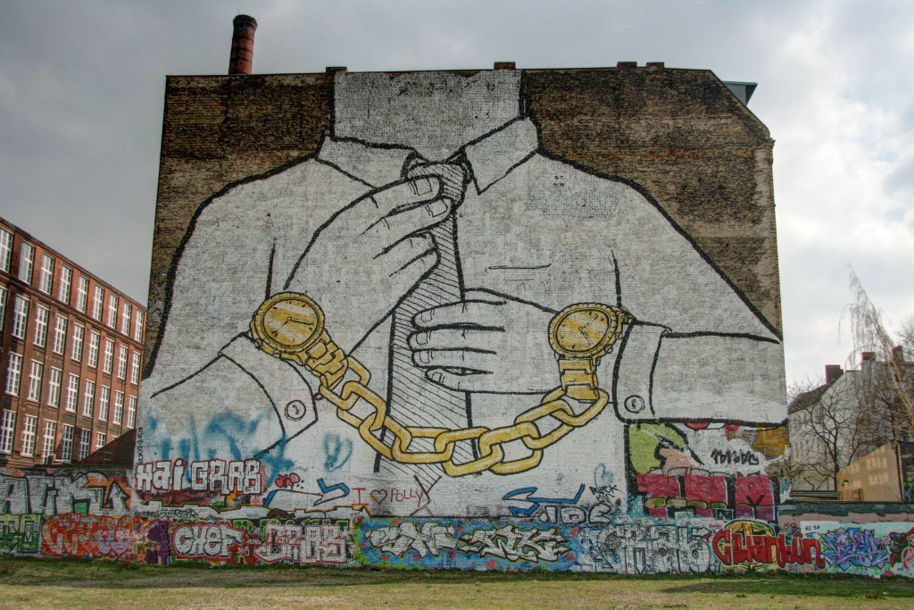 Shackled By Time: Street Art by BLU in Berlin