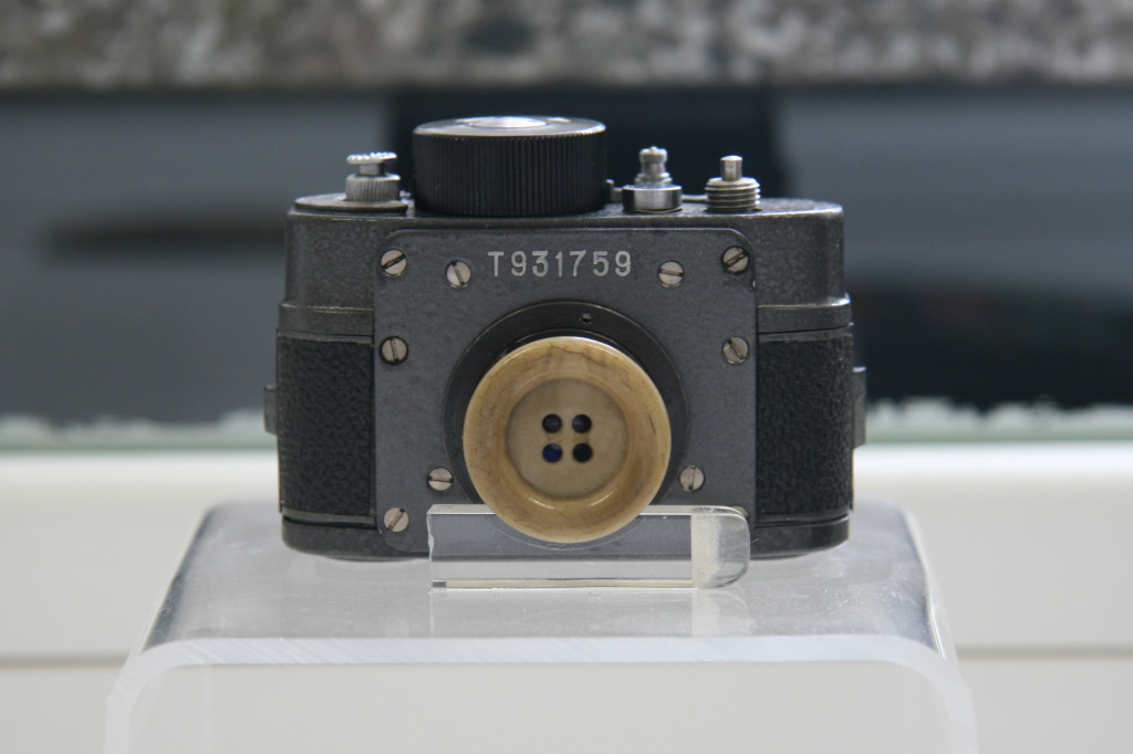 A buttonhole camera on display in The Stasi Museum in Berlin