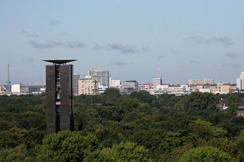 The Carillion and Tiergarten in the foreground and Funkturm (West Berlin's TV Tower) in the background