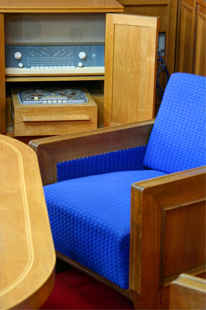 A lounge chair and recording equipment hidden in a cupboard in a corner of Erich Mielke's office in The Stasi Museum in Berlin