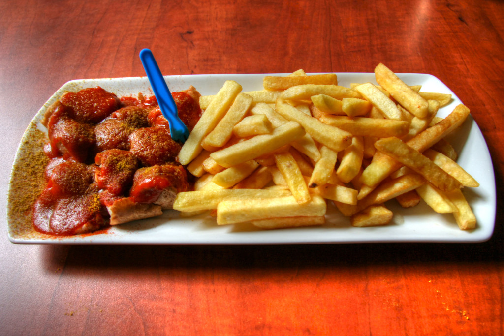 Currywurst and Chips at Curry 66, an Imbiss in Friedrichshain, Berlin