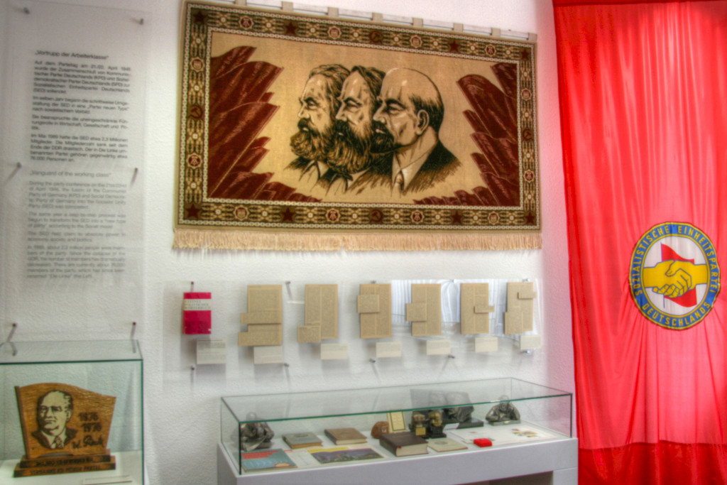 A display in The Stasi Museum in Berlin including busts of Lenin and Marx