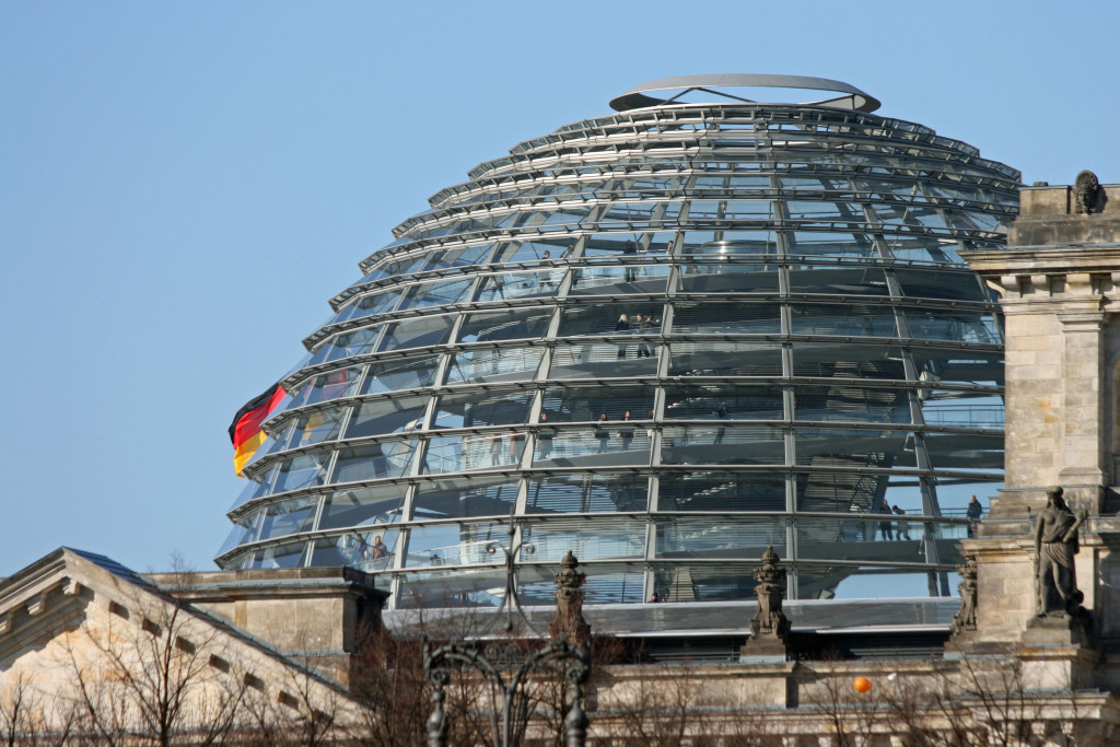 The glass dome on the roof of the Reichstag from Platz des 18. Mai in Berlin