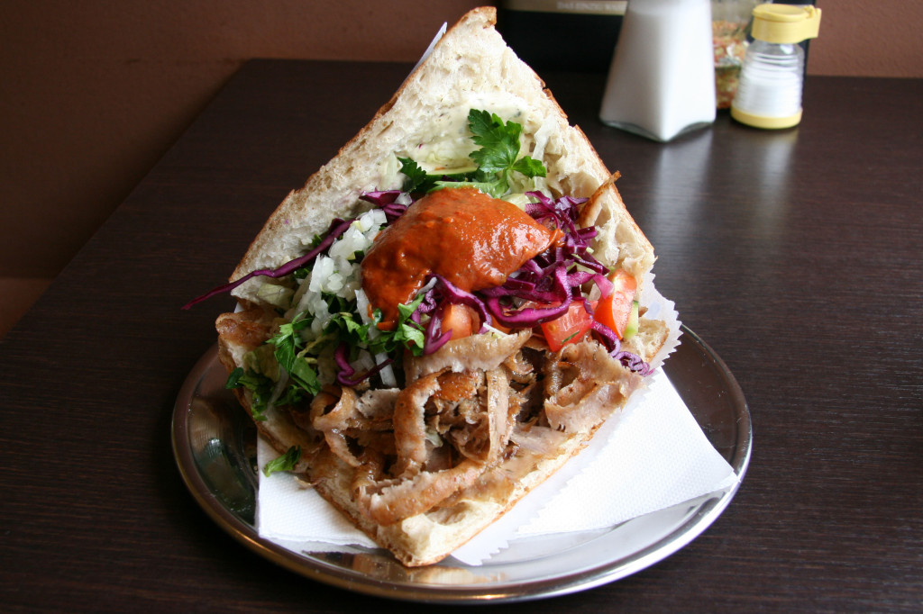 A Döner Kebap im Brot (Doner Kebab in bread) at Efes Bistro in Berlin