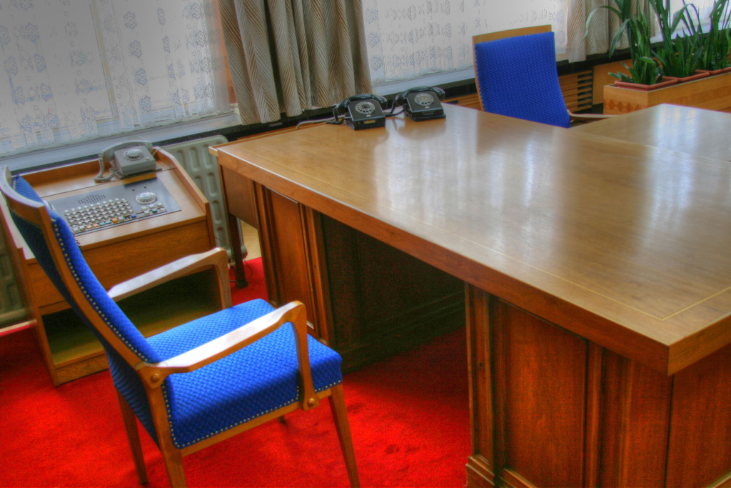 Erich Mielke's chair and desk in his office preserved at The Stasi Museum in Berlin