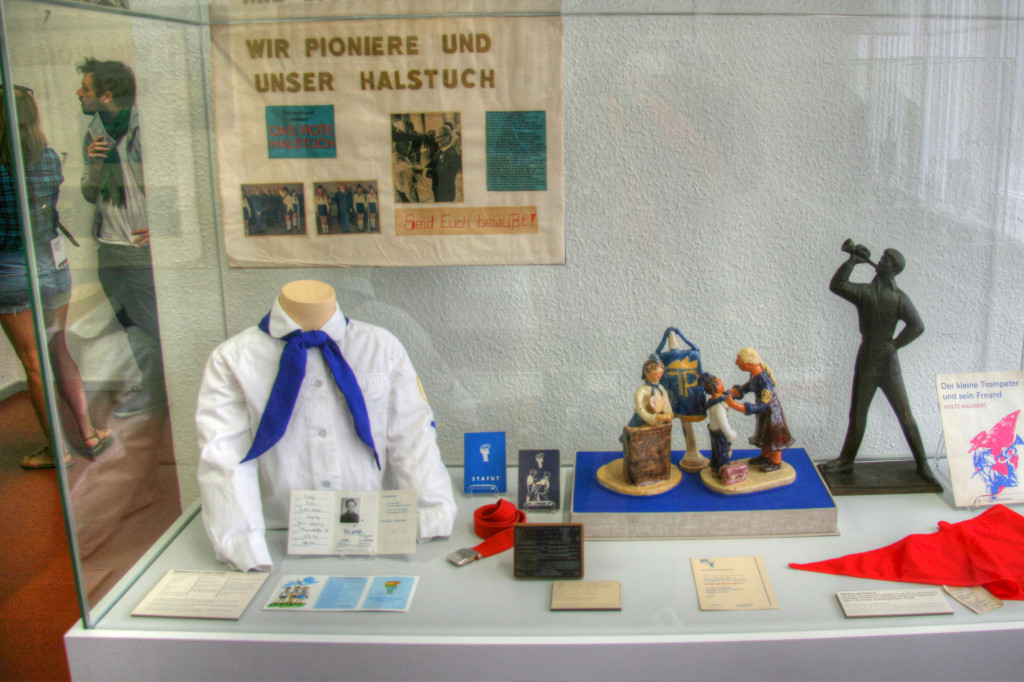 A display of items related to the Frei Deutsche Jugend (FDJ) or Free German Youth in The Stasi Museum in Berlin