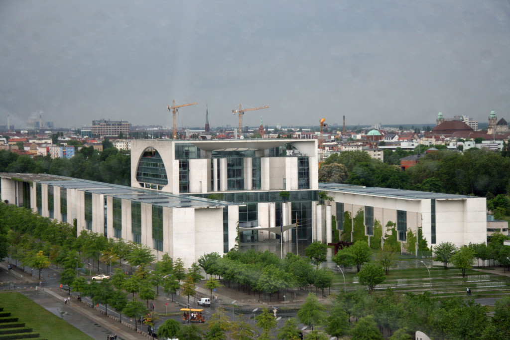 The Federal Chancellery from the dome of the Reichstag in Berlin