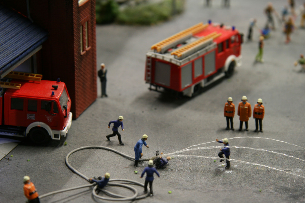 Firemen take part in a Fire Drill at Loxx Miniatur Welten Berlin