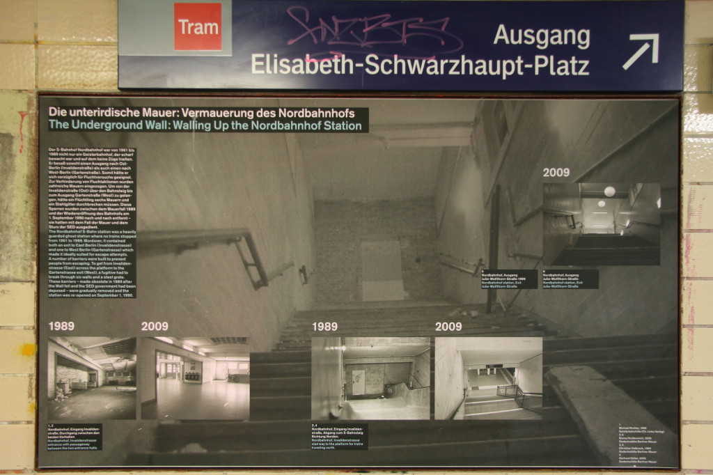 A display about the underground wall - part of the Ghost Stations and Border Stations in Divided Berlin exhibition at Nordbahnhof