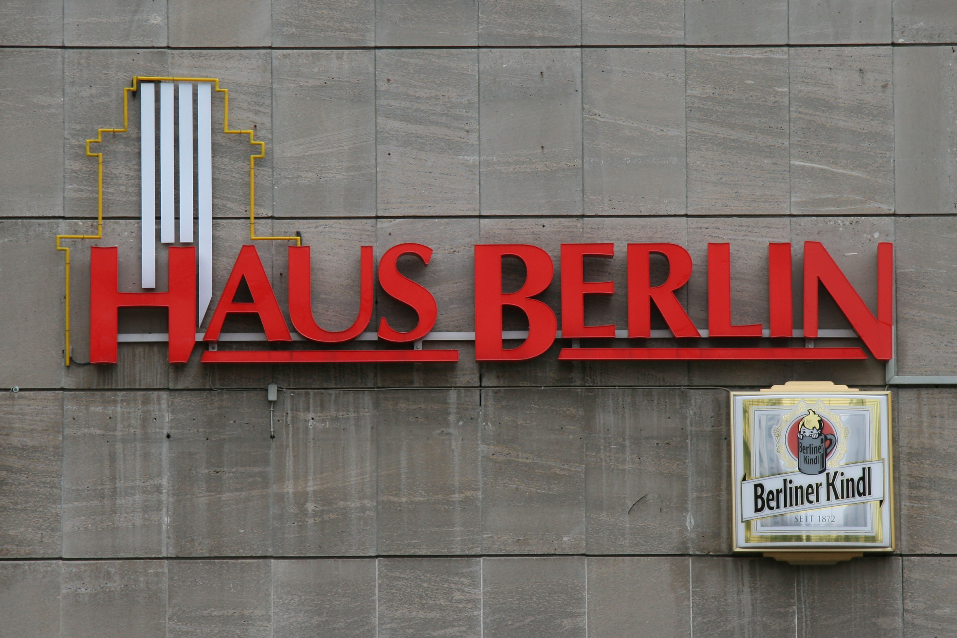 The Haus Berlin sign on Karl-Marx-Allee in Berlin
