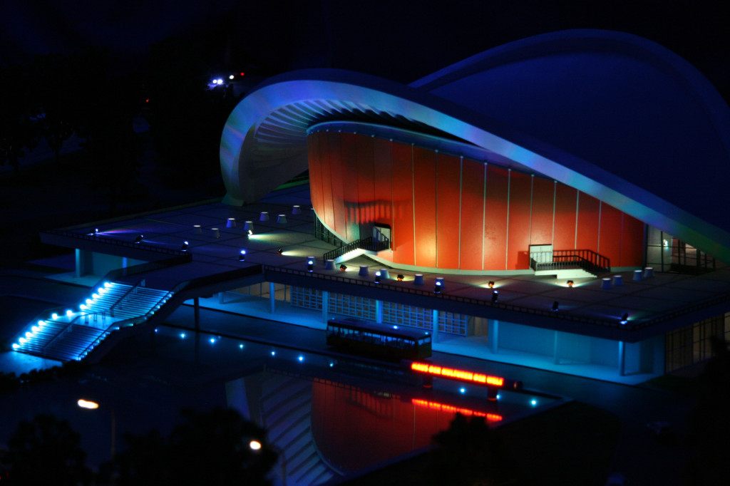 The Haus der Kulturen der Welt (known to Berliners as the Pregnant Oyster) at night at Loxx Miniatur Welten Berlin