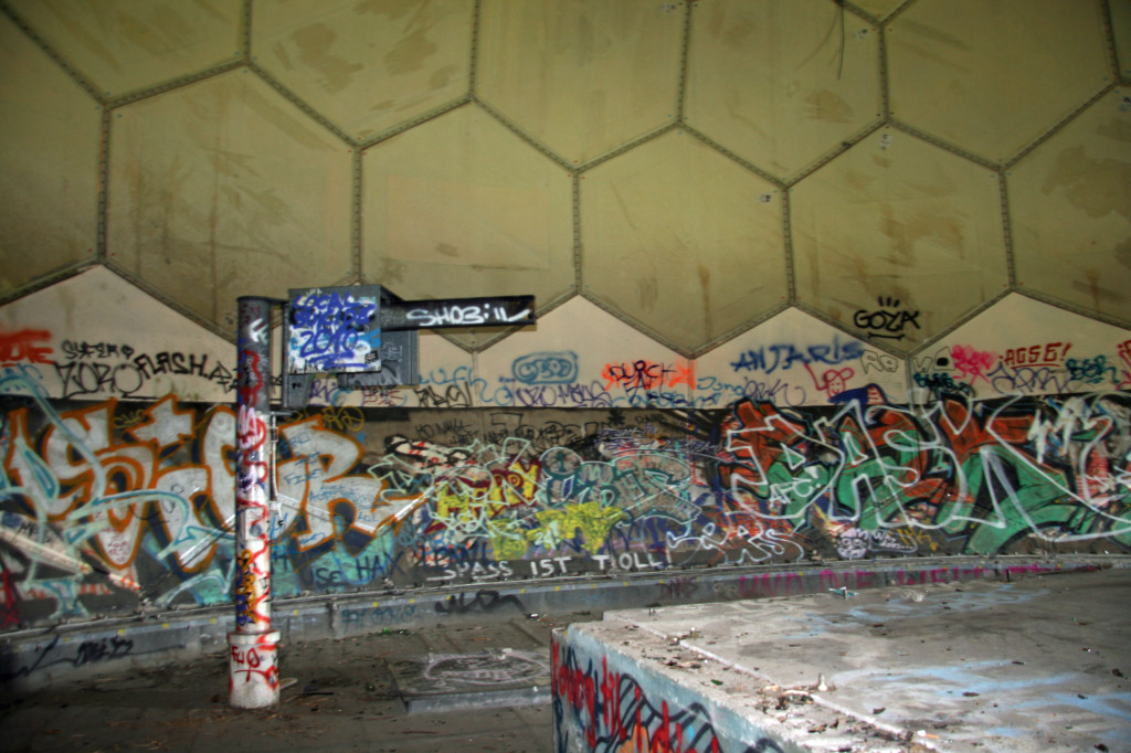 Inside the dome at the top of the highest tower of the NSA Listening Station at Teufelsberg