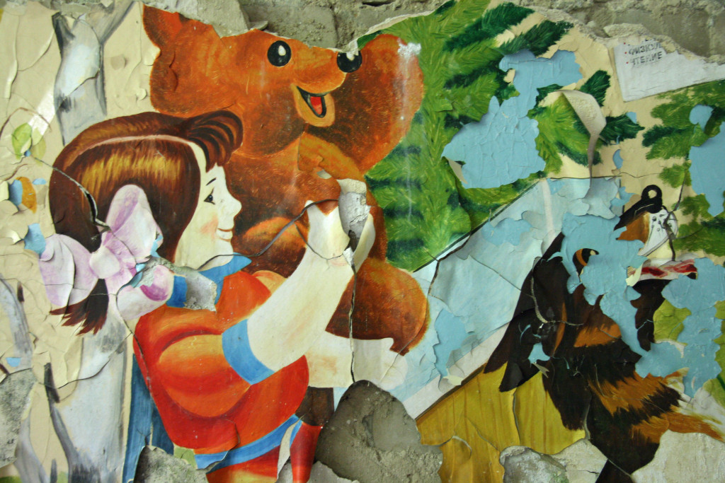 A Soviet mural in a classroom in the Kaserne Krampnitz - a former Nazi/Soviet Military base near Berlin