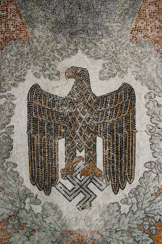 A Nazi Eagle mosaic on a ceiling in the Kaserne Krampnitz - a former Nazi/Soviet Military base near Berlin