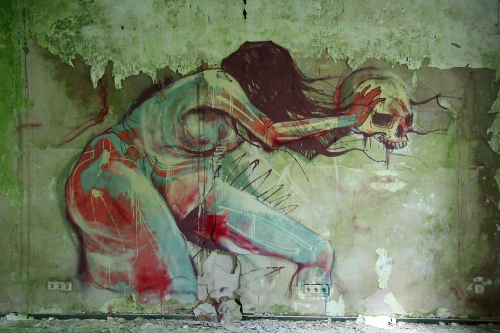 Street Art on the wall in the Kaserne Krampnitz - a former Nazi/Soviet Military base near Berlin