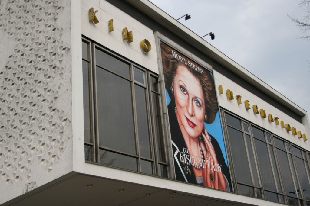 The picture of Meryl Streep as Margaret Thatcher in the Iron Lady adds to the effect of the architecture of Kino International on Karl-Marx-Allee in Berlin