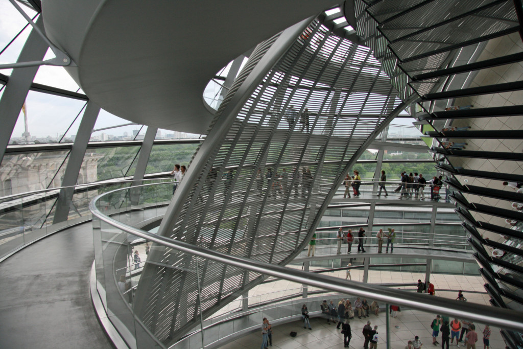 The light sculpture and sunshade in the dome of the Reichstag in Berlin