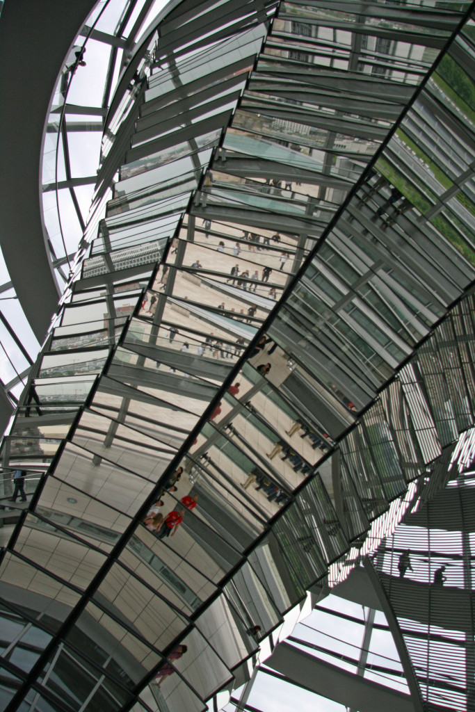 The light sculpture in the dome of the Reichstag in Berlin