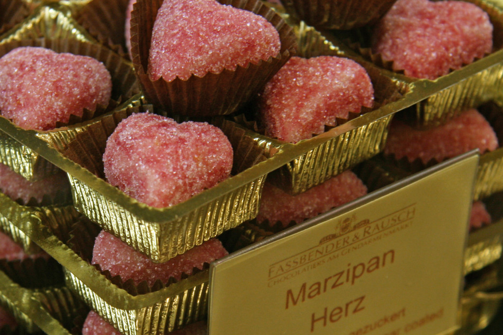 Mazipan Herz (Hearts) at Fassbender & Rausch Chocolatiers on the Gendarmenmarkt in Berlin