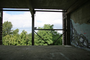 An opening in the wall of the main building of the NSA Listening Station at Teufelsberg leads to a sheer drop