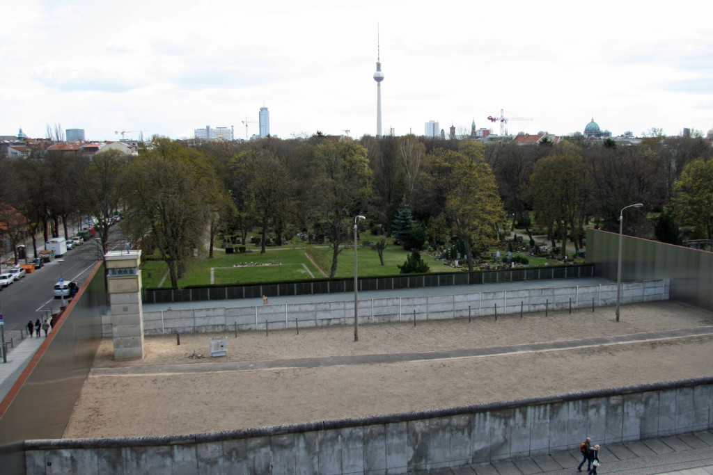 Overlooking the Monument in Memory of the Divided City and the Victims of Communist Tyranny from the viewing platform at Gedenkstätte Berliner Mauer (Berlin Wall Memorial) on Bernauer Strasse