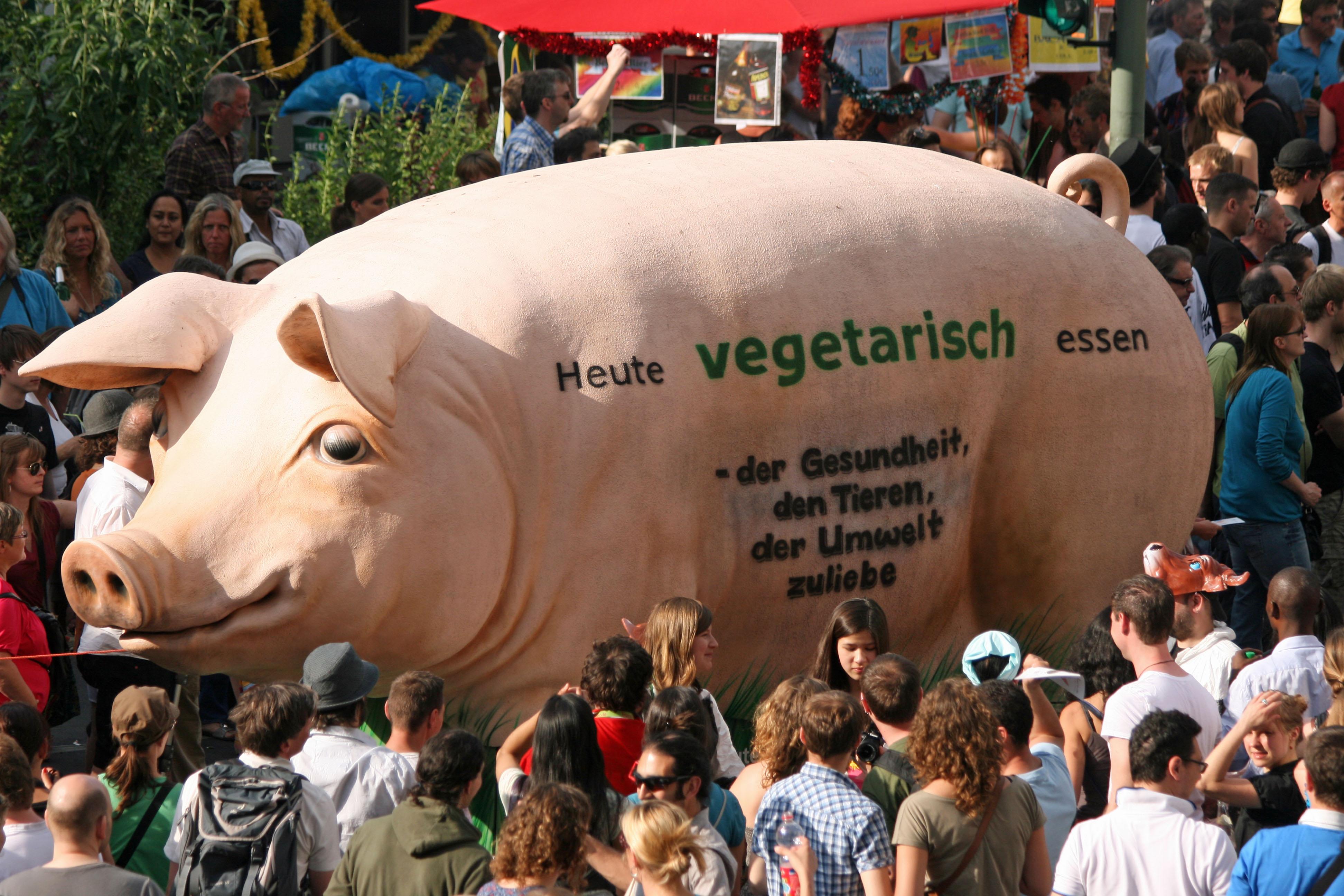 A pig float advocates vegetarianism at Karneval der Kulturen (Carnival of Cultures) in Berlin
