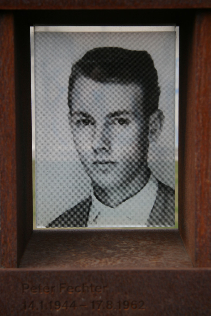 A Portrait of Peter Fechter in The Window of Remembrance at Gedenkstätte Berliner Mauer (Berlin Wall Memorial) on Bernauer Strasse