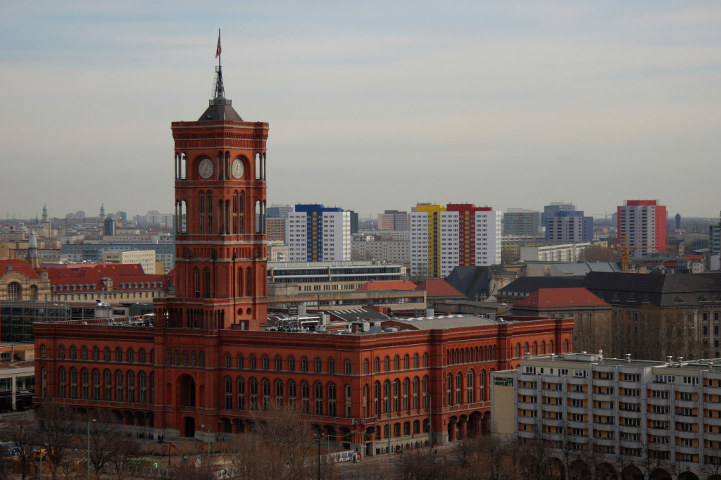 The Rotes Rathaus (Red City Hall) from the viewing balcony on the roof of the Berliner Dom (Berlin Cathedral)