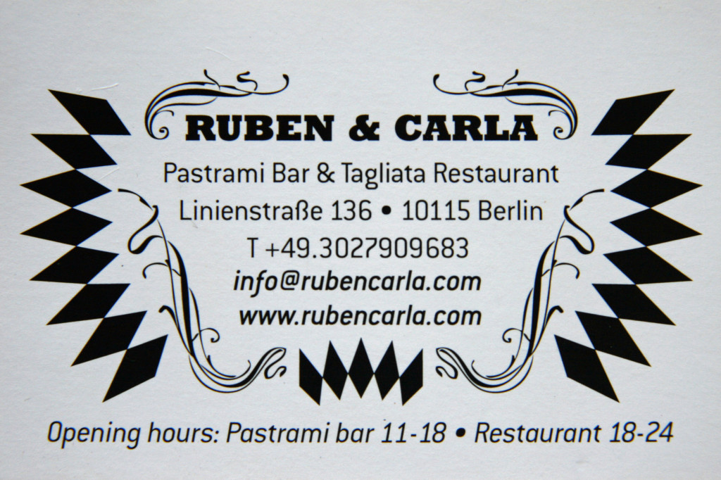 Ruben and Carla Berlin address, contact details and opening hours