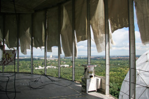 Sheeting in tatters in a tower at the NSA Listening Station at Teufelsberg