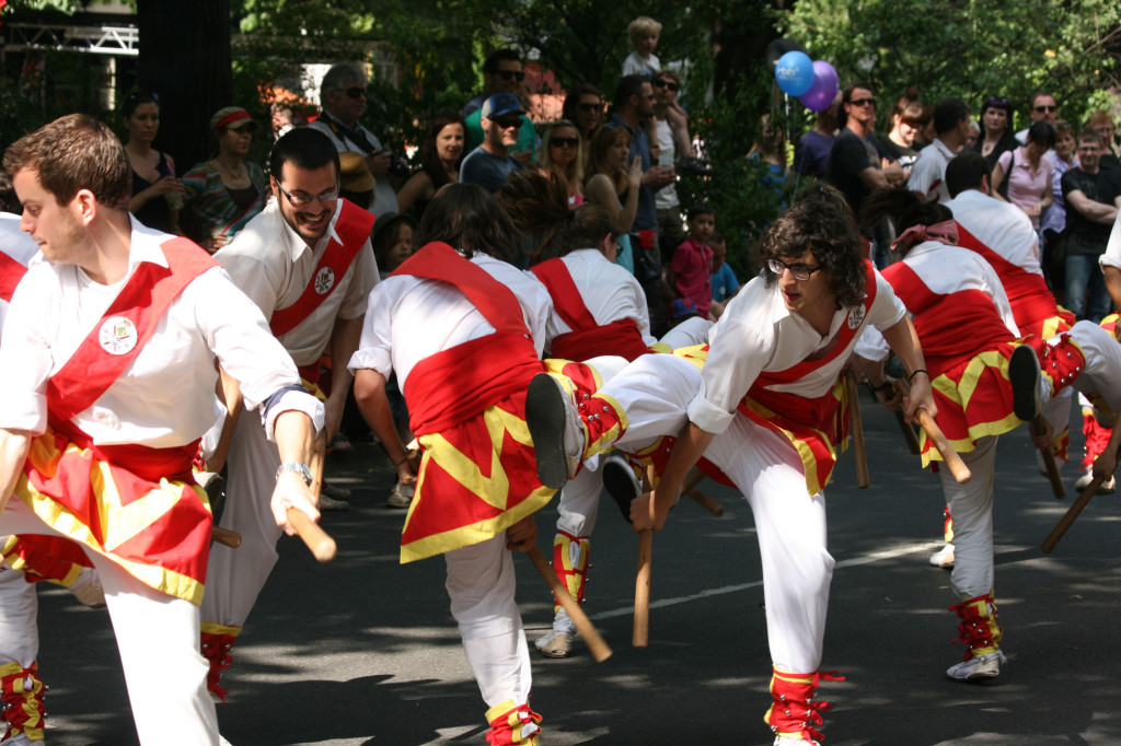 Spanish Morris Dancers take part in the parade at Karneval der Kulturen (Carnival of Cultures) in Berlin