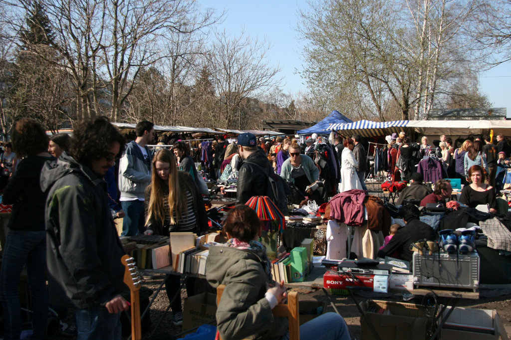 The crowd moves through the stalls at the Flohmarkt am Mauerpark (Flea Market) in Berlin on a Sunday