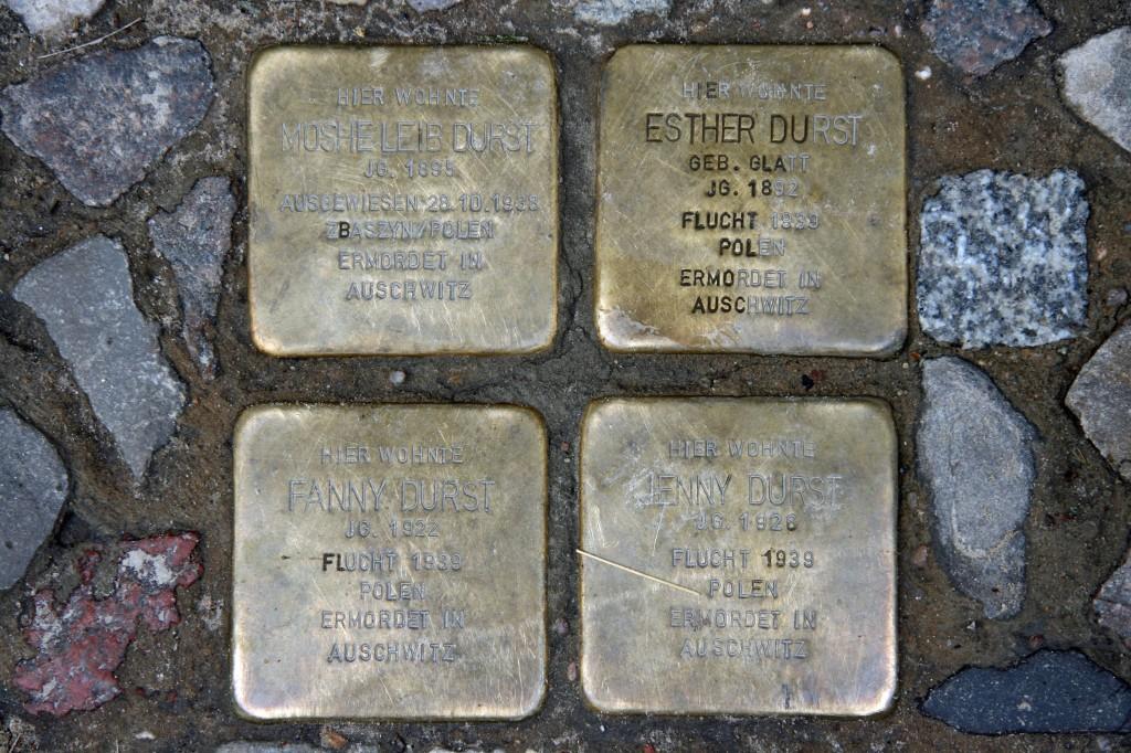 Stolpersteine 14: In memory of Moshe Leib Durst, Esther Durst, Fanny Durst, Jenny Durst (Rückerstrasse) in Berlin