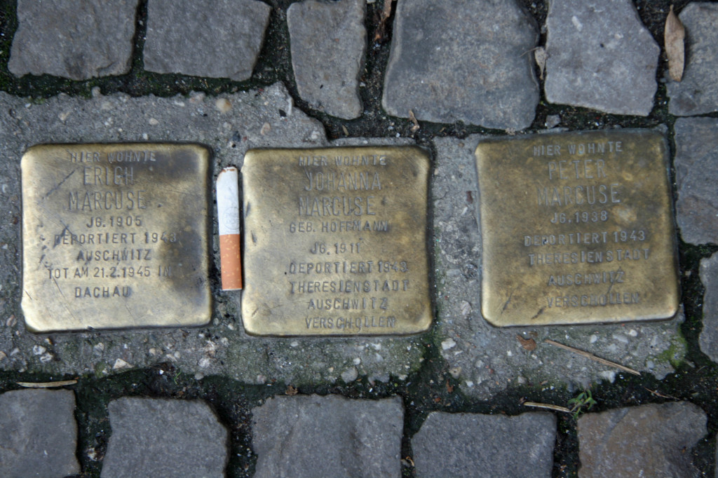 Stolpersteine 21: In memory of Erich Marcuse, Johanna Marcuse, Peter Marcuse (Kuchi – Gipsstrasse) in Berlin