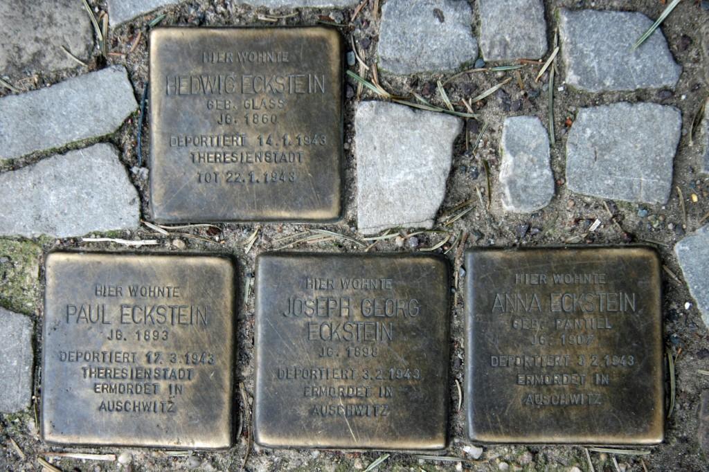 Stolpersteine 29: In memory of Hedwig Eckstein, Paul Eckstein, Joseph Georg Eckstein and Anna Eckstein (Raabestrasse 13) in Berlin