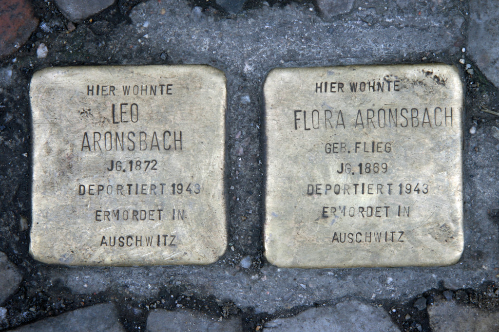 Stolpersteine 34 (3): In memory of Leo Aronsbach and Flora Aronsbach (Grosse Hamburger Strasse 29) in Berlin