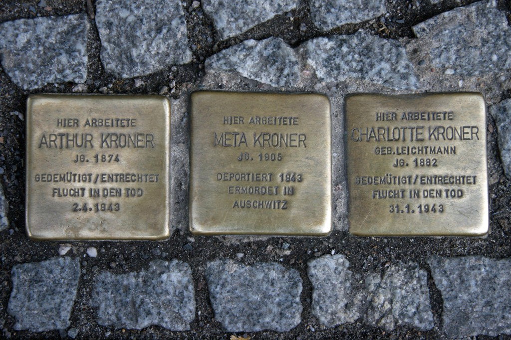 Stolpersteine 47: In memory of Arthur Kroner, Meta Kroner and Charlotte Kroner (Friedrichstrasse 55) in Berlin