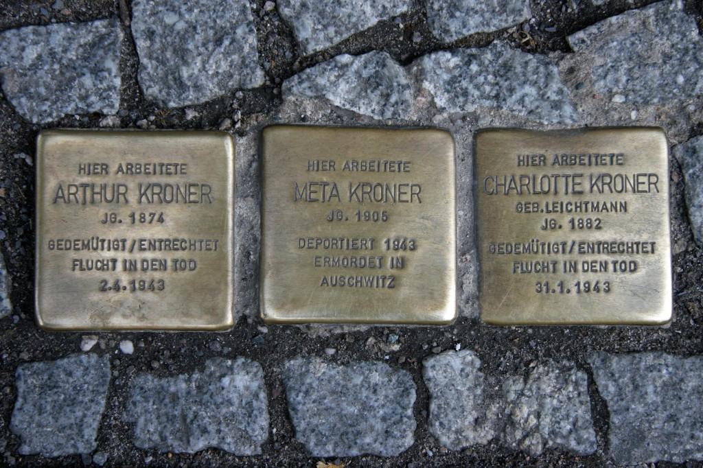 Stolpersteine 47: In memory of Arthur Kroner, Meta Kroner and Charlotte Kroner (Friedrichstrasse 55) in Berlin