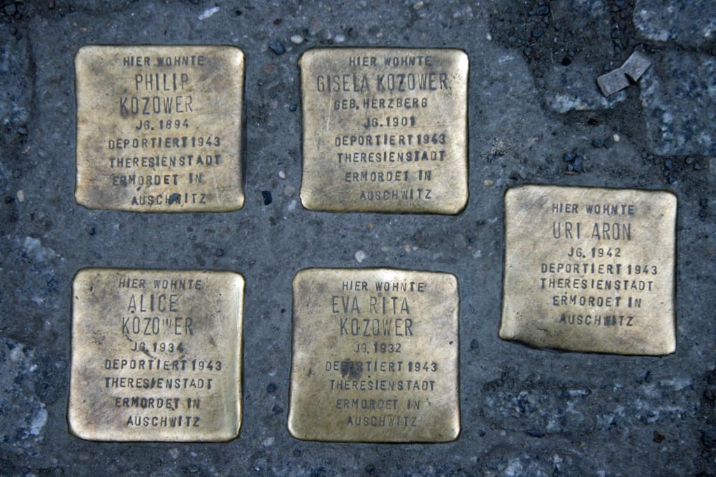 Stolpersteine 51: In memory of Philip Kozower, Gisela Kozower, Alice Kozower, Eva Rita Kozower and Uri Aron (Corner of Oranienburger Strasse and Grosse Hamburger Strasse) in Berlin