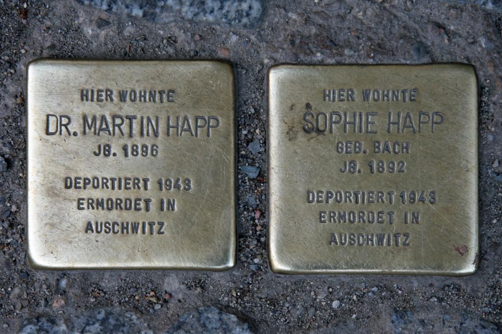 Stolpersteine 54: In memory of Dr Martin Happ and Sophie Happ (Chausseestrasse 6) in Berlin